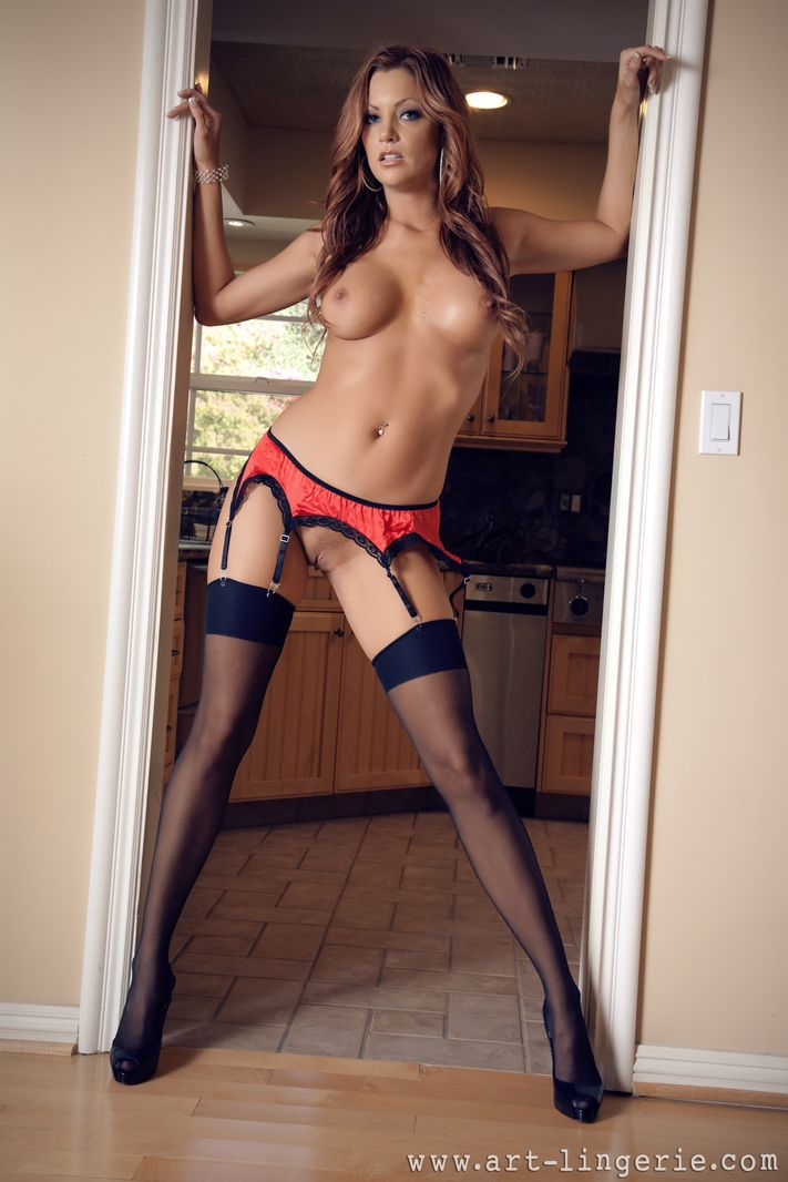 Redhead Stockings Suspenders 35