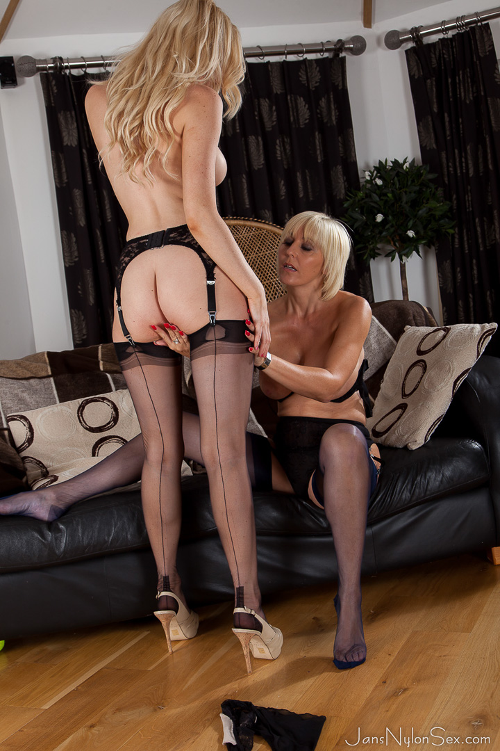 Lesbians and high stockings heels