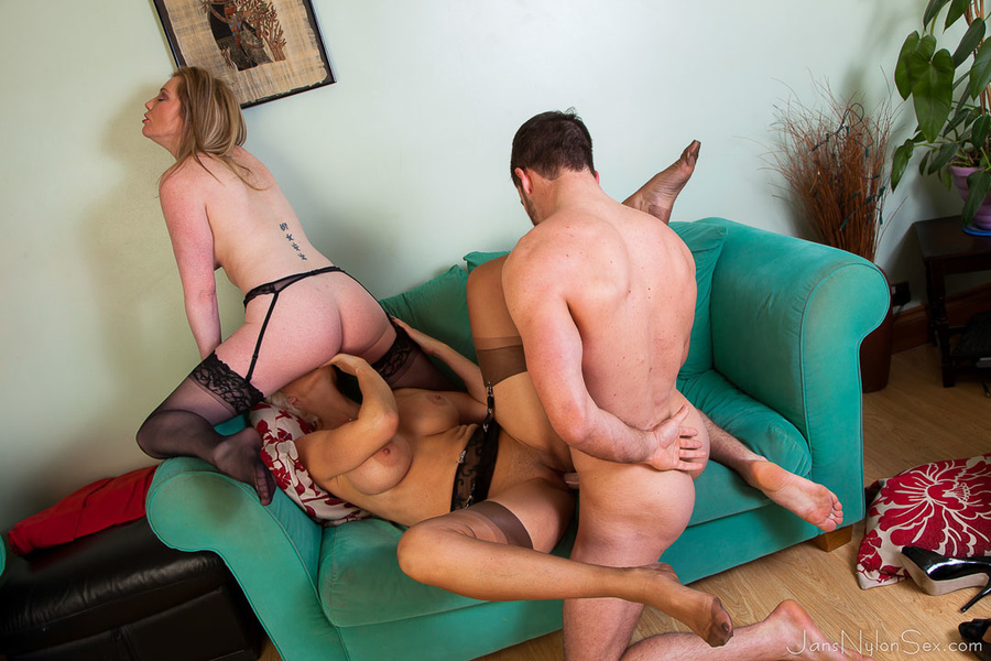 Mature lady and guy playing with each other